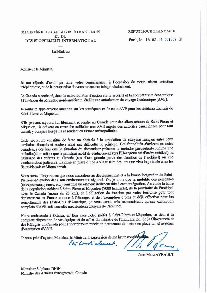 Lettre de Jean-Marc Ayrault